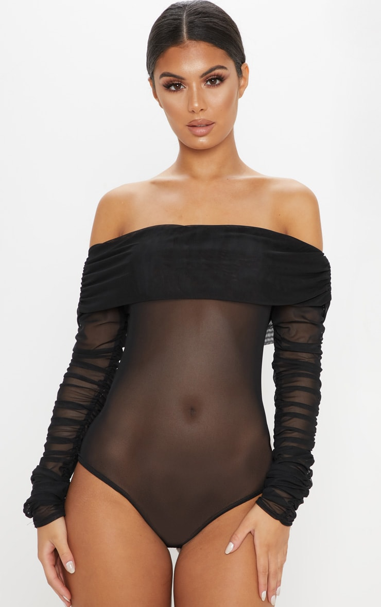 Black Mesh Bardot Ruched Sleeve Bodysuit 2