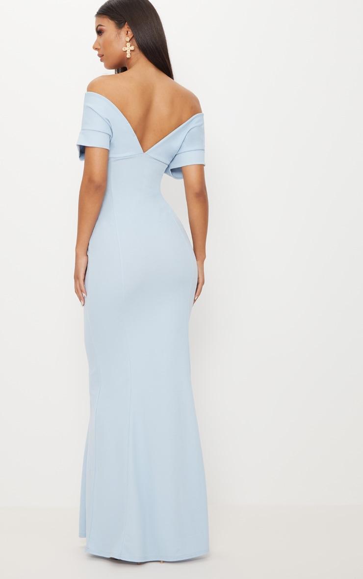 Dusty Blue Off The Shoulder Plunge Maxi Dress 2
