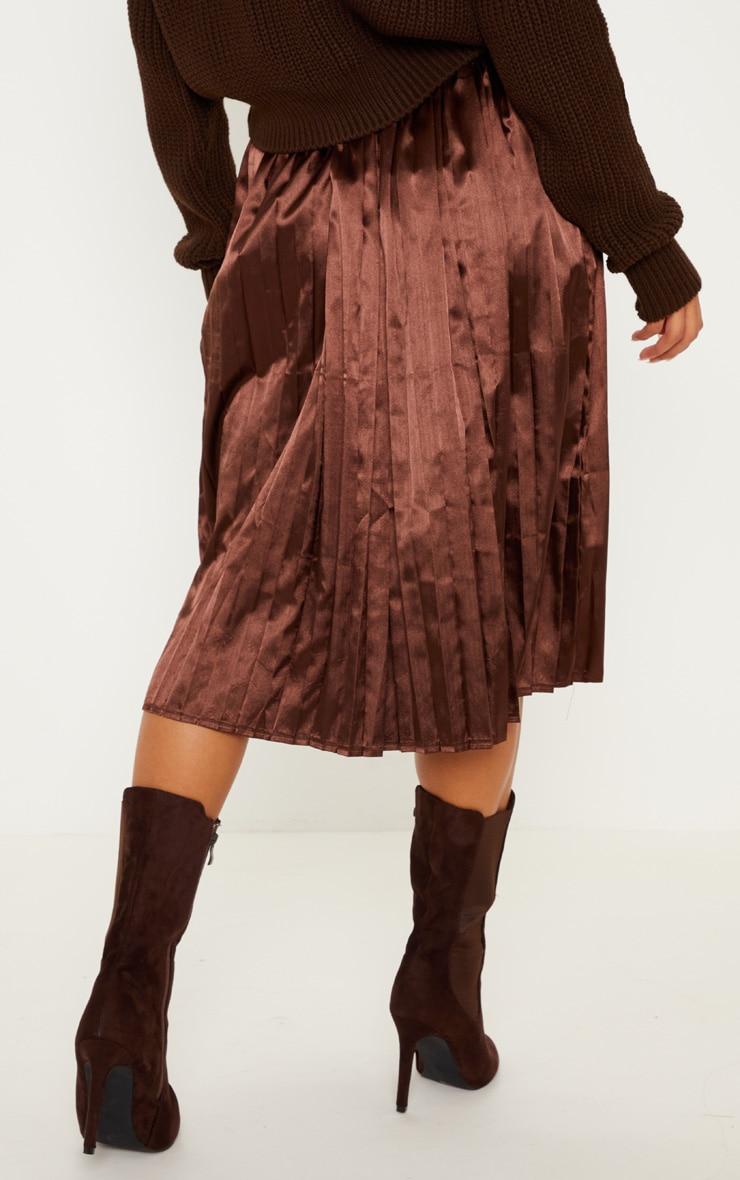 Chocolate Satin Pleated Midi Skirt 4