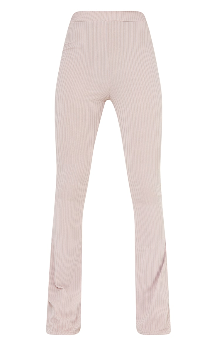 Mauve Ribbed Flared Pants 5