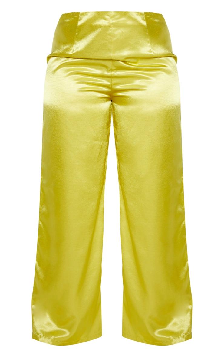 Plus Pale Lime Satin Wide Leg Pants  3