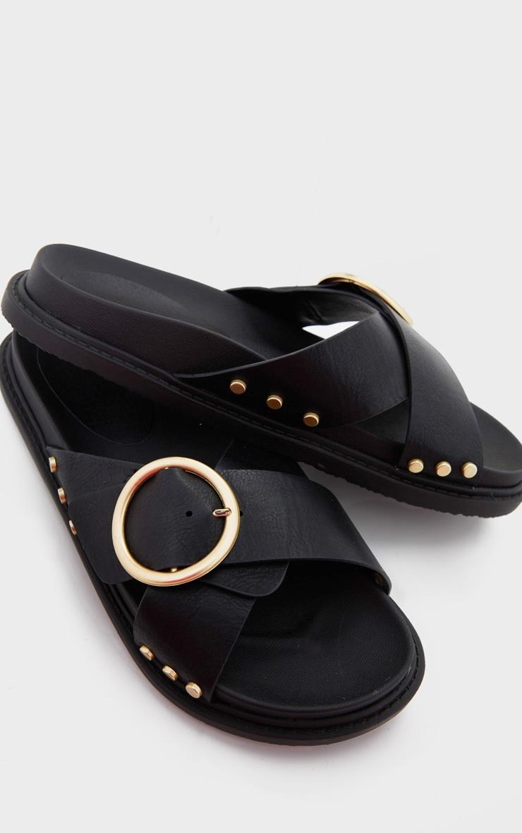 Black Cross Strap Buckle Detail Mule Sandal 4