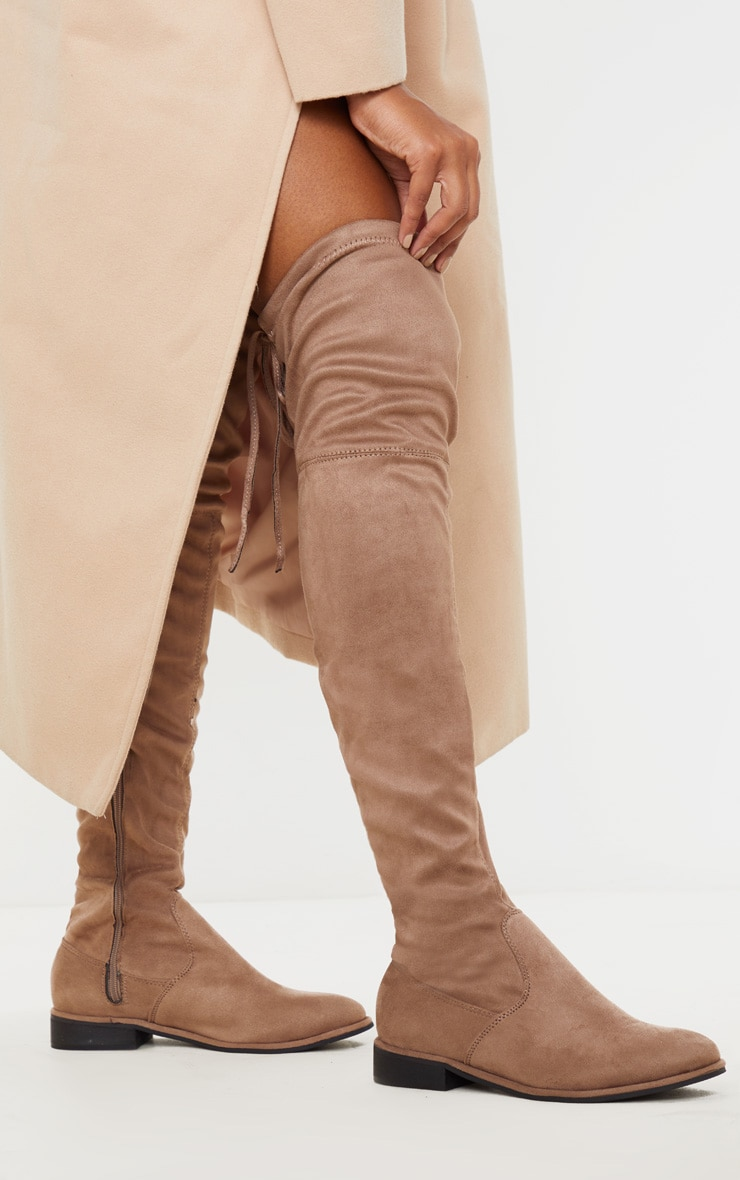 Taupe Flat Over The Knee Boot 1