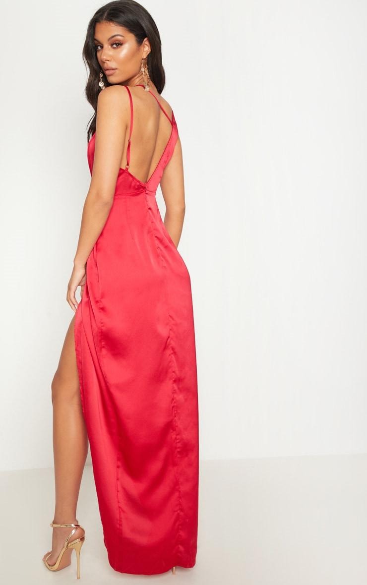 Red Asymmetric Sleeve Cut Out Split Leg Maxi Dress  1