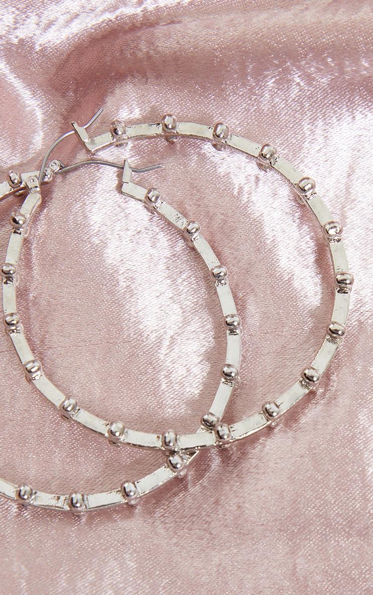 Créoles argentées chunky à perles 3