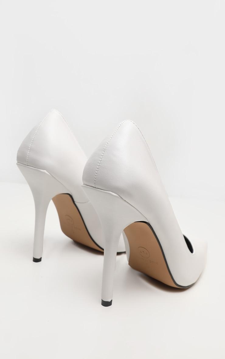 White Square Heel Court Shoe 4