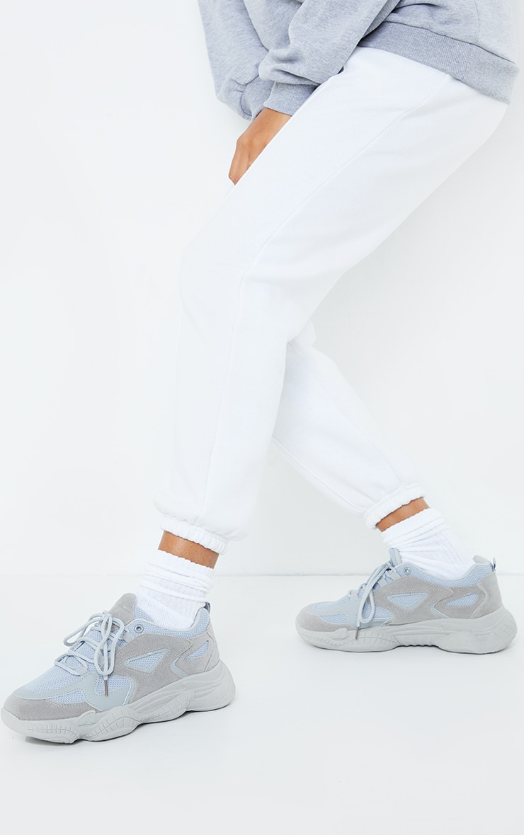 Grey Wide Fit Chunky Bubble Sole Panelled Up Sneakers 1