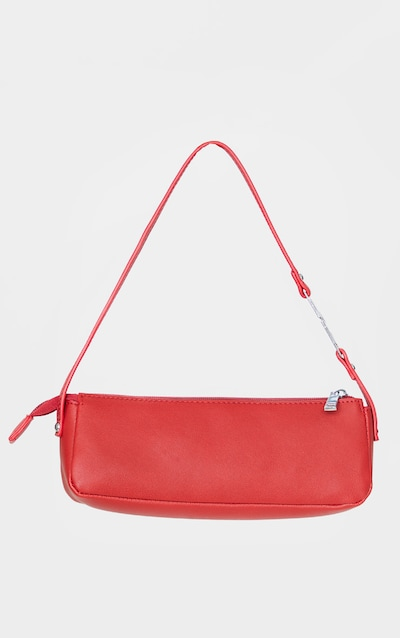 Red PLT Handle PU Baguette Shoulder Bag