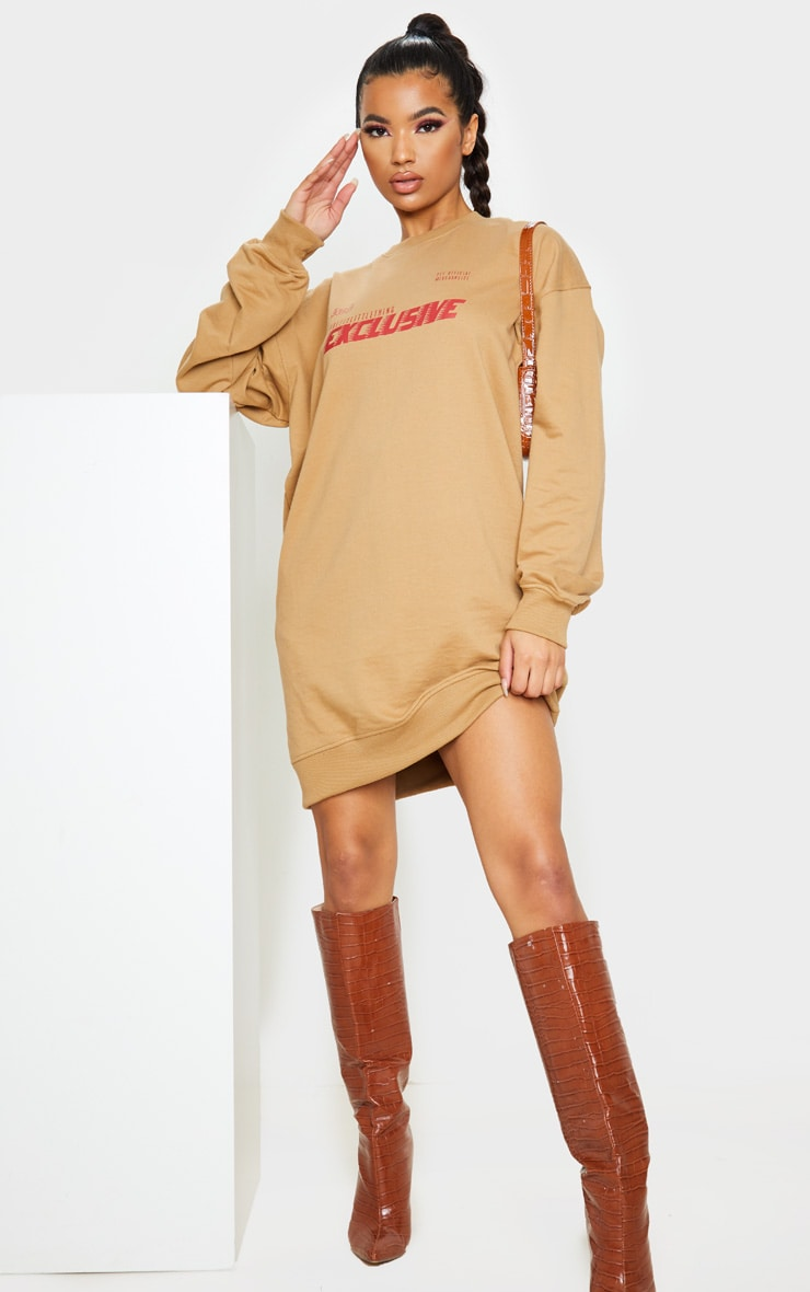 PRETTYLITTLETHING Camel Exclusive Slogan Sweater Dress 1