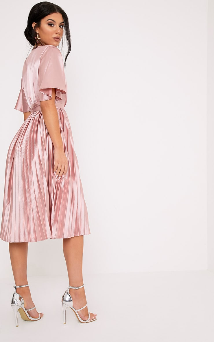 Mairee Dusty Pink Satin Pleated Midi Dress 2