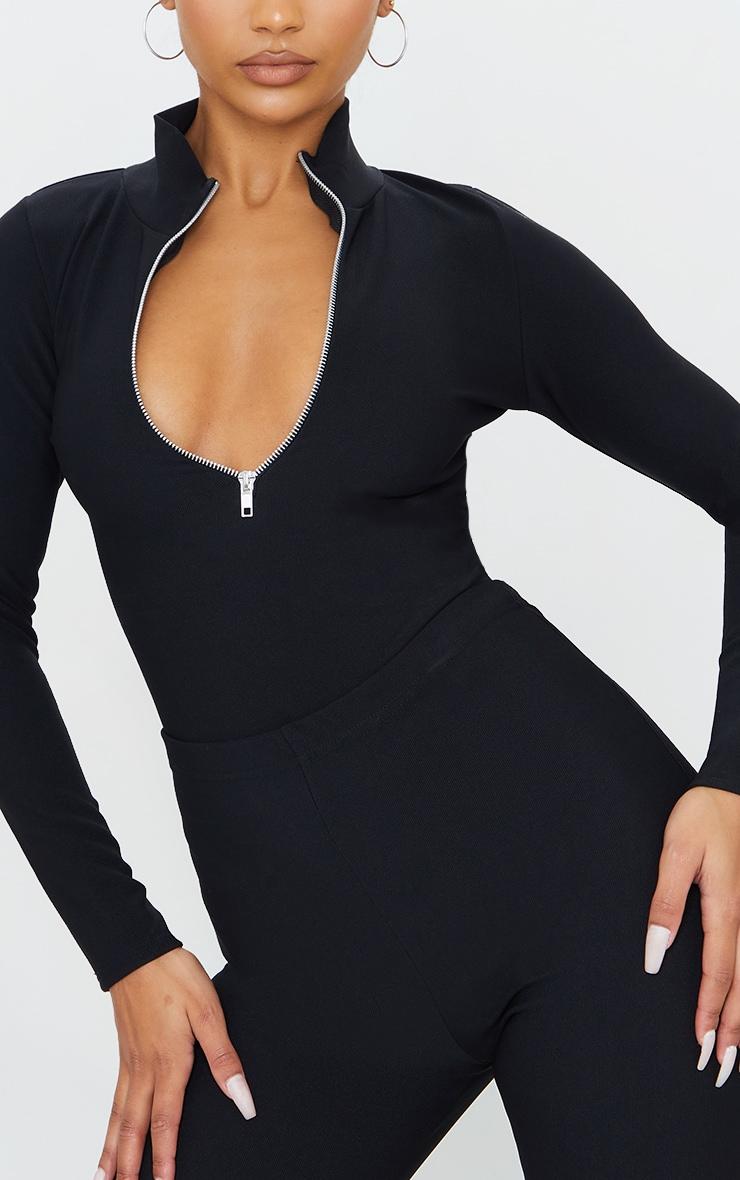 Black Bandage Zip Up High Neck Long Sleeve Bodysuit 4