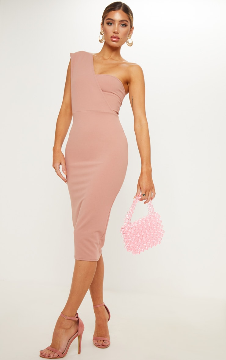 Dusty Pink One Shoulder Draped Midi Dress 3