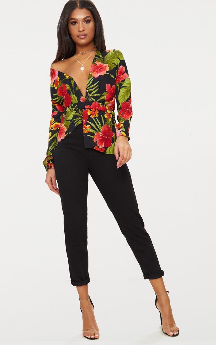 Black Floral Print Off Shoulder Belted Blouse 4