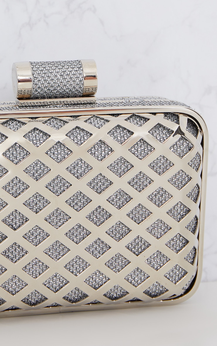 Silver Metal Cage Clutch 5