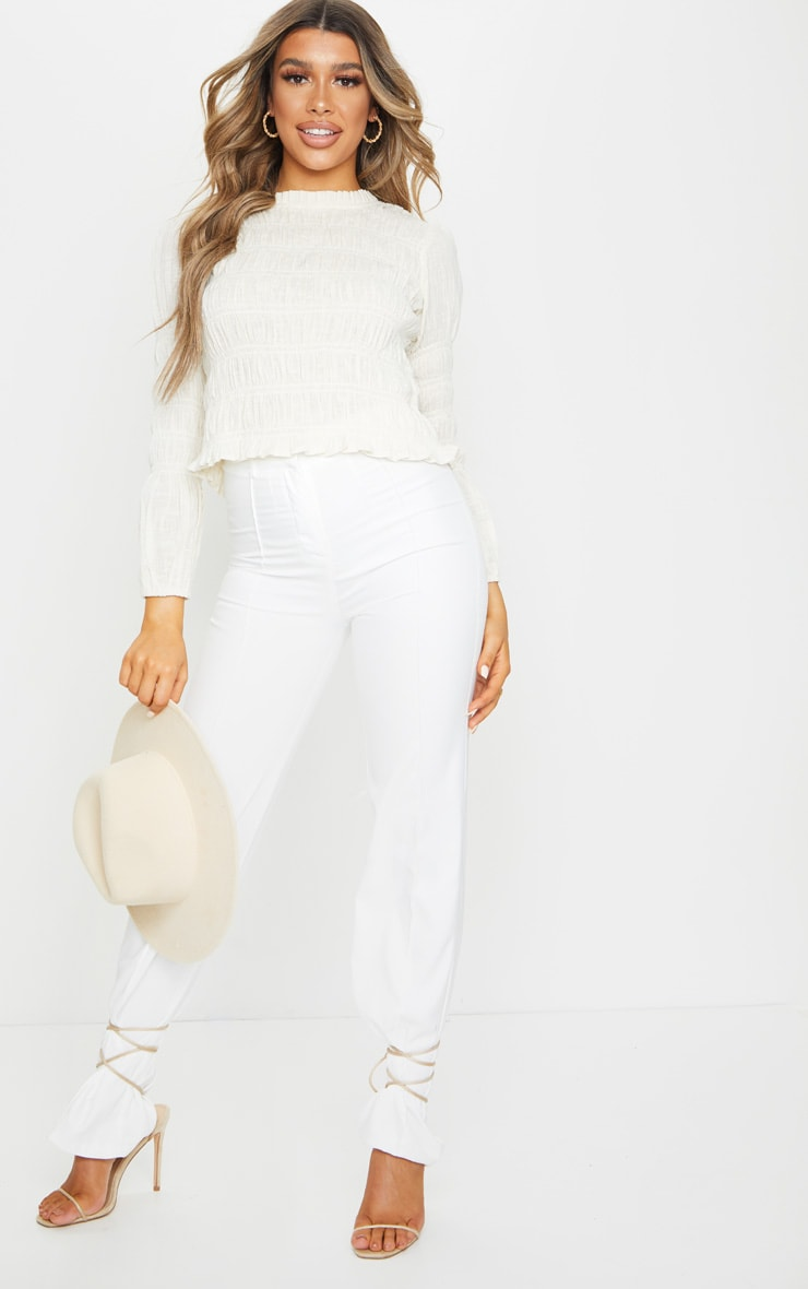 Sand Woven Ruched Top 3