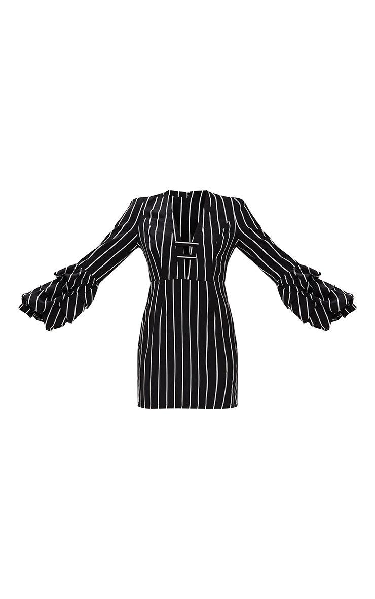 Black Striped Ruched Cuff Bodycon Dress  2