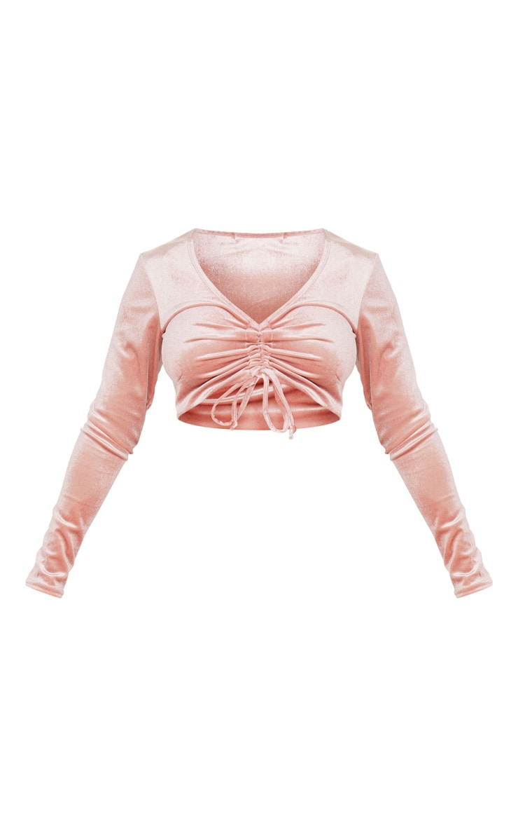 Petite Pink Velour Long Sleeve Ruched Crop Top 3
