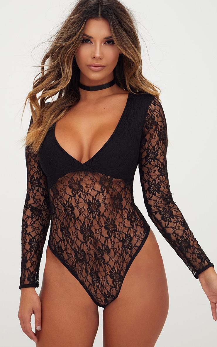 Black Lace V Neck Longsleeve Thong Bodysuit 1