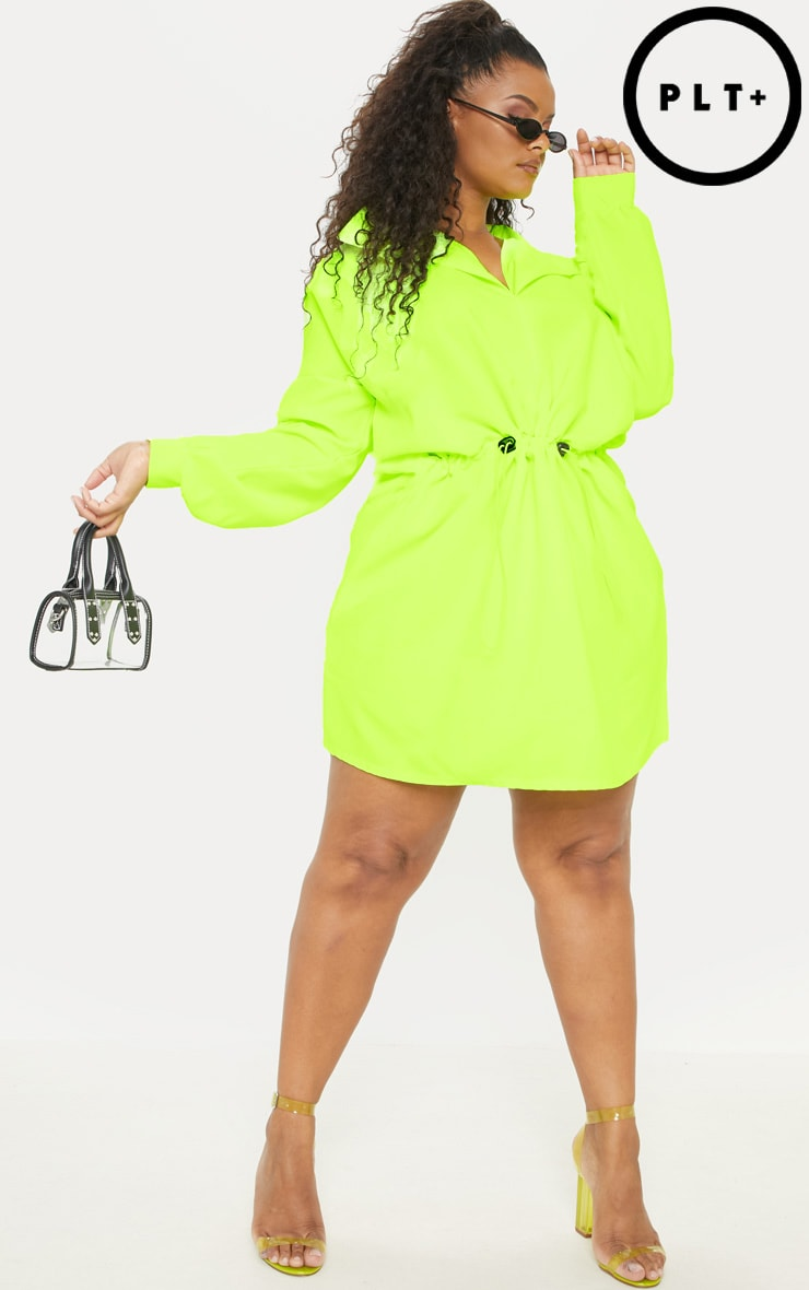 Plus Neon Lime Toggle Waist Shift Dress 1