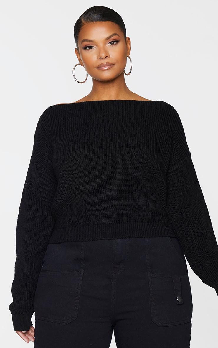 PLT Plus - Pull court tricoté noir à col large 1