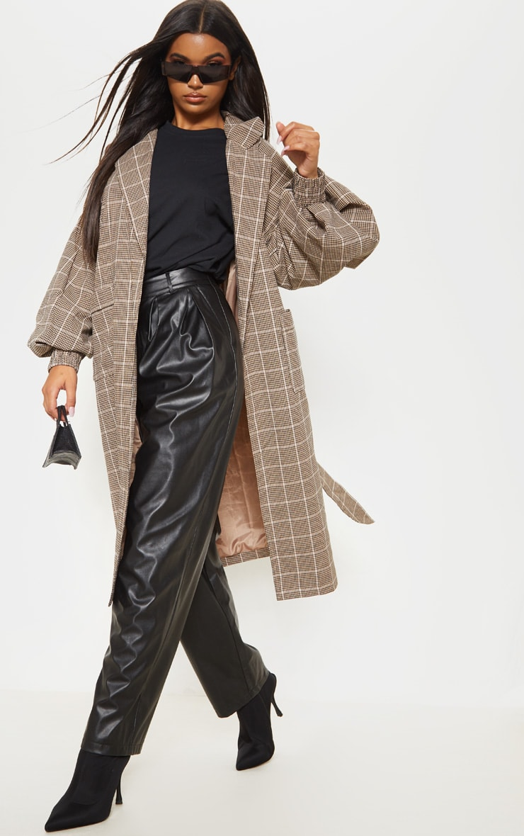 Stone Check Print Balloon Sleeve Tie Waist Trench 4