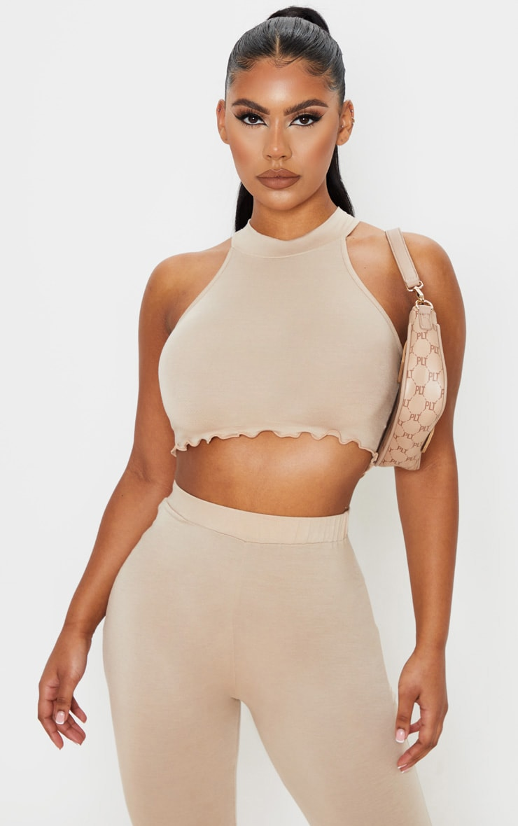 Stone Jersey High Neck Racer Back Crop Top 1