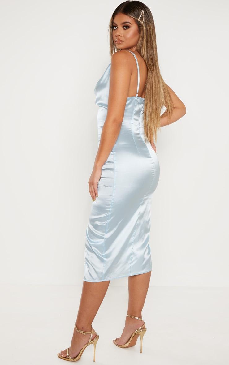 Baby Blue Strappy Satin Cowl Midi Dress 2