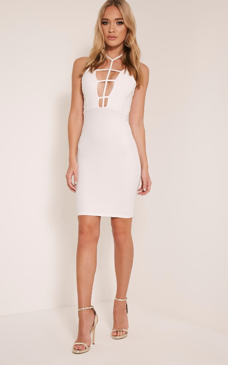 Alessy White Cage Detail Cross Back Bodycon Dress 5