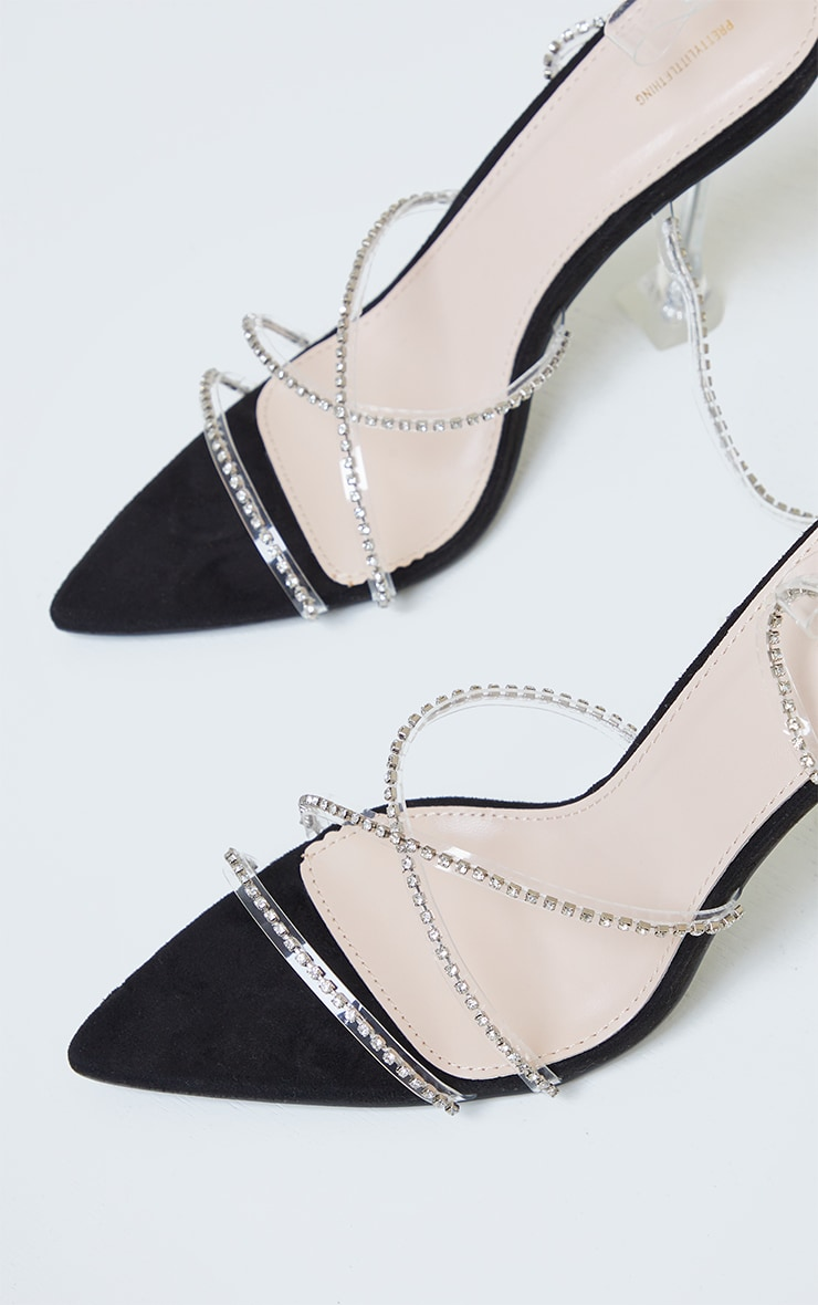 Black Clear Diamante Strappy Detail Pointed Toe Cake Stand High Heels 4