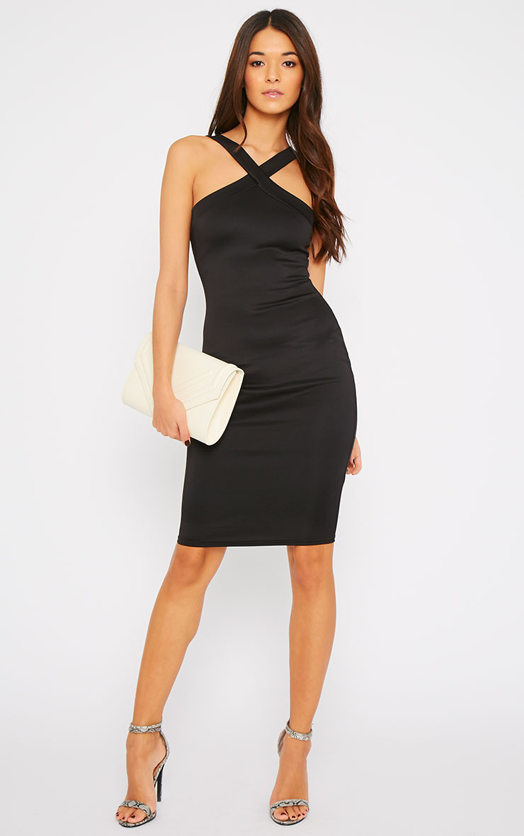 Melanie Black Cross Front Midi Dress 1