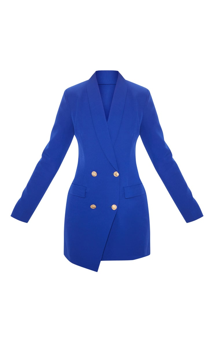 Blue Gold Button Blazer Dress 3