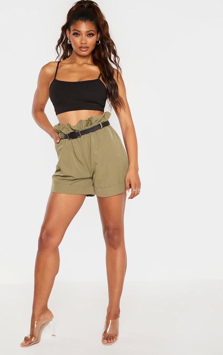Tall Khaki High Waist Paperbag Belted Shorts 1