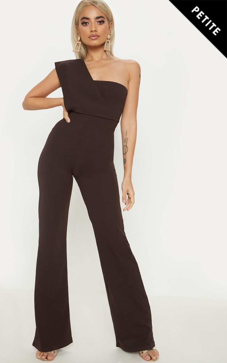 Petite Chocolate Brown Drape One Shoulder Jumpsuit by Prettylittlething