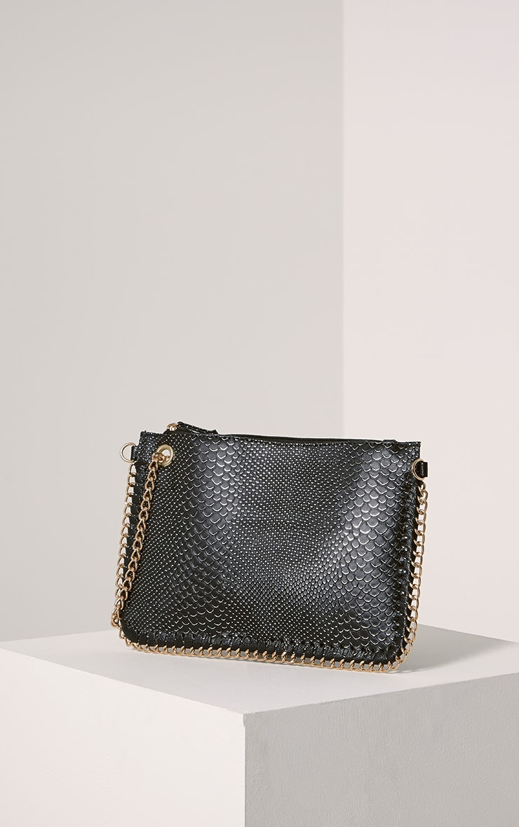 Milly Black Snake Print Chain Clutch 1