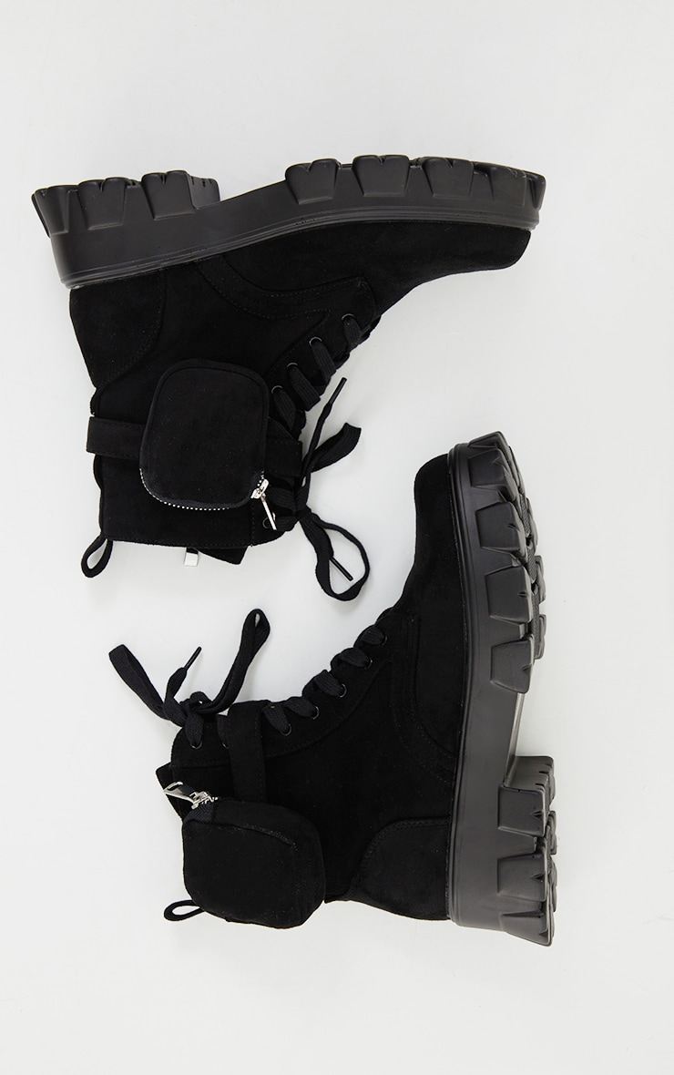 Black Faux Suede Pocket Extreme Cleated Sole Biker Boot 3