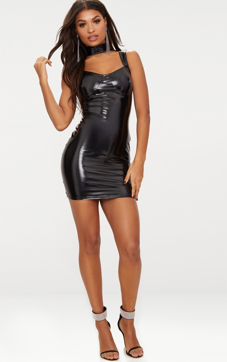 Black Vinyl High Neck Strap Detail Bodycon Dress 4