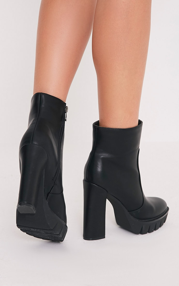 Ciel Black PU Cleated Sole Heeled Ankle Boots 2