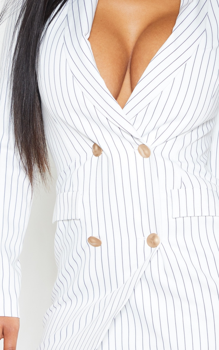 White Pinstripe Gold Button Blazer Dress 5
