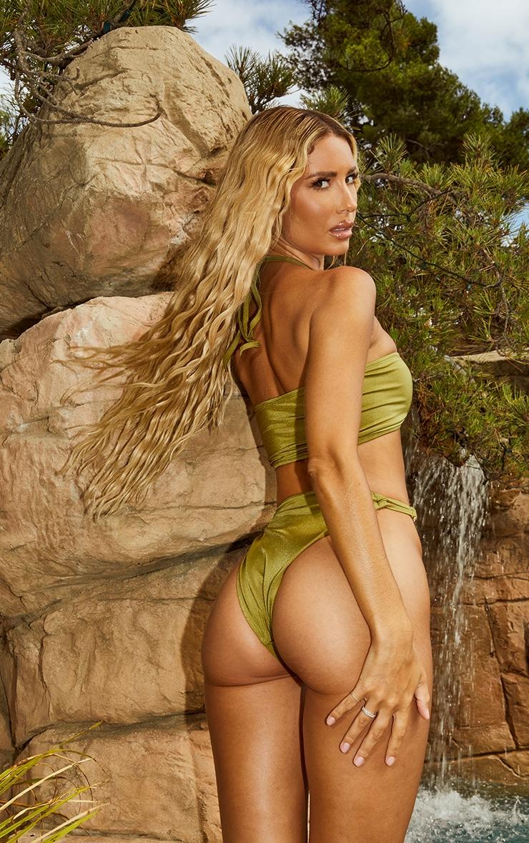 Olive Triple Ring Halterneck Bikini Top 2