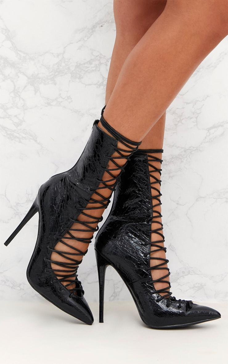 a2feea47342 Black Lace Up Detail Croc PU Stiletto Boots