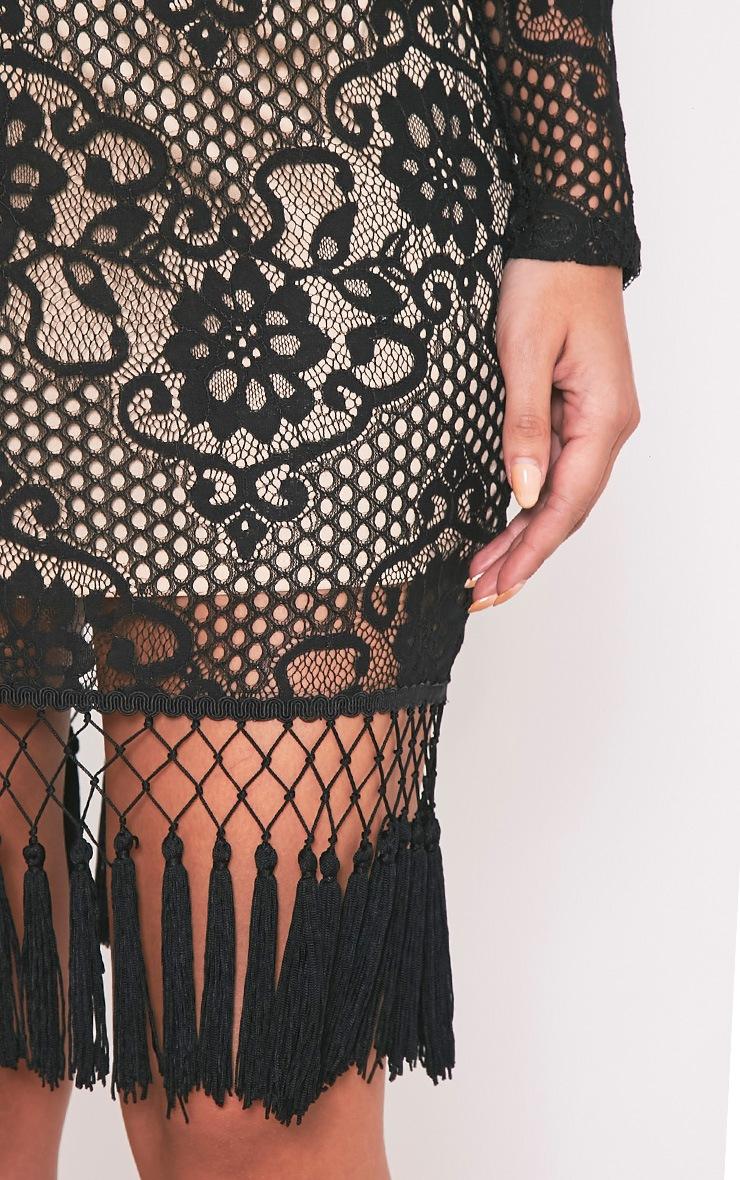 Krina Black Lace Tassel Detail Bodycon Dress 6