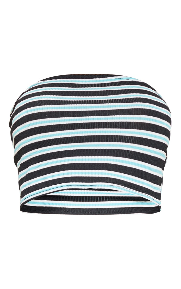 Basic Blue Ribbed Stripe Bandeau Crop Top 3