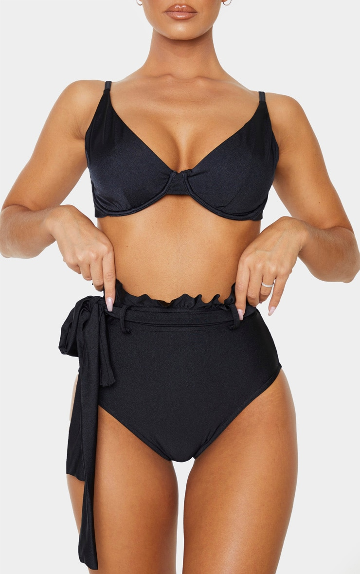Black Paperbag Belted High Waist Bikini Bottom 1