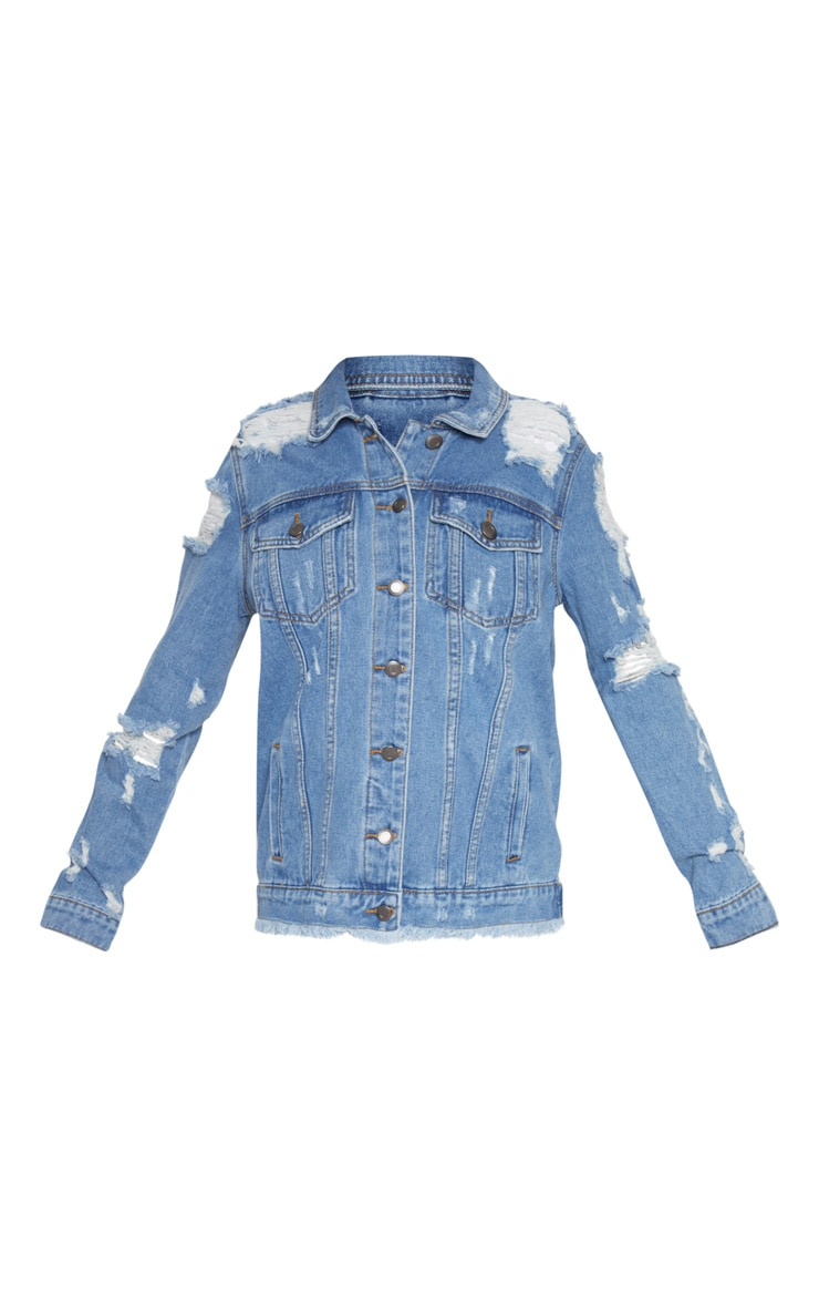Petite Mid Blue Distressed Denim Jacket 3