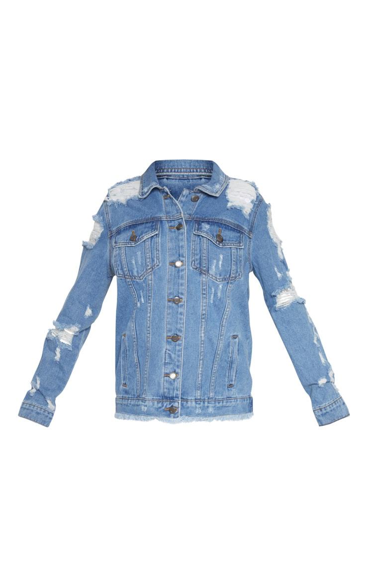 Petite veste en jean vieillie bleu moyen 3