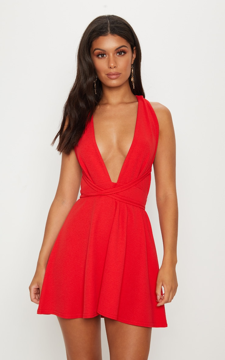 Red Wrap Detail Skater Dress 1