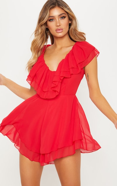 a5419484d08 Red Chiffon Frill Plunge Playsuit
