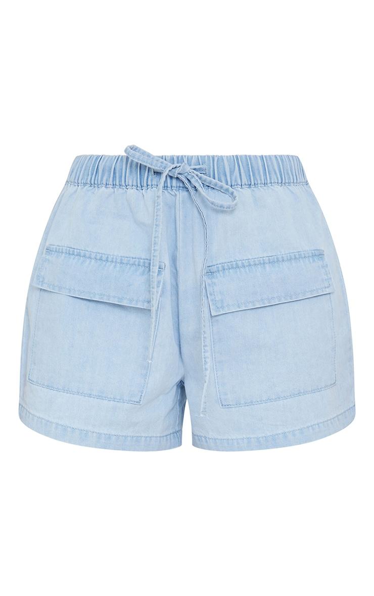 Light Blue Wash Pocket Front Elasticated Waist Denim Shorts 6