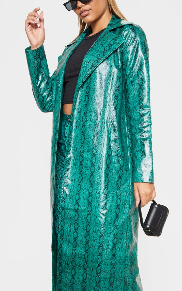 Emerald Green Snake PU Trench 5