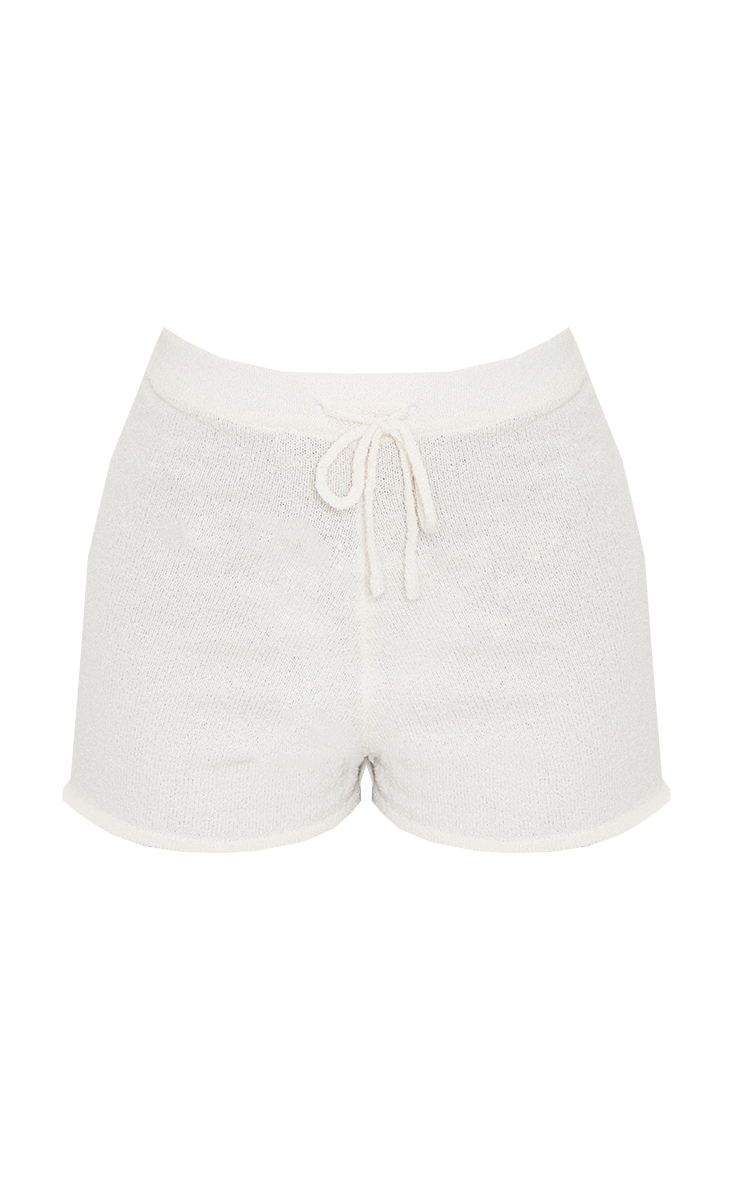 Cream Tie Waist Towelling Knit Shorts 6